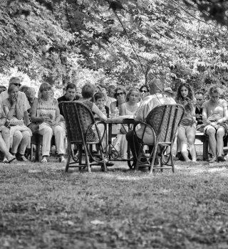 Rencontres, lectures et entretiens à La Petite Escalère. Portes ouvertes 2015, Cole Swensen et Pierre Vilar. Photo Pierre Dupin.